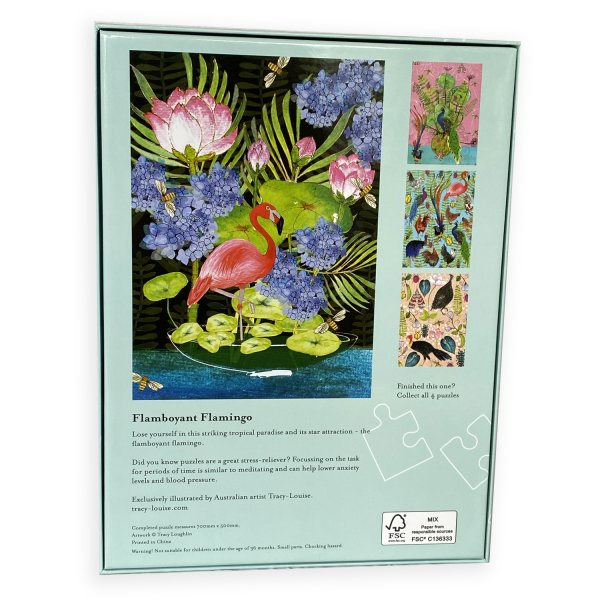 Flamboyant Flamingo puzzle box back